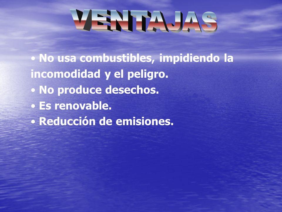 No usa combustibles, impidiendo la incomodidad y el peligro. No produce desechos. Es renovable. Reducción de emisiones.