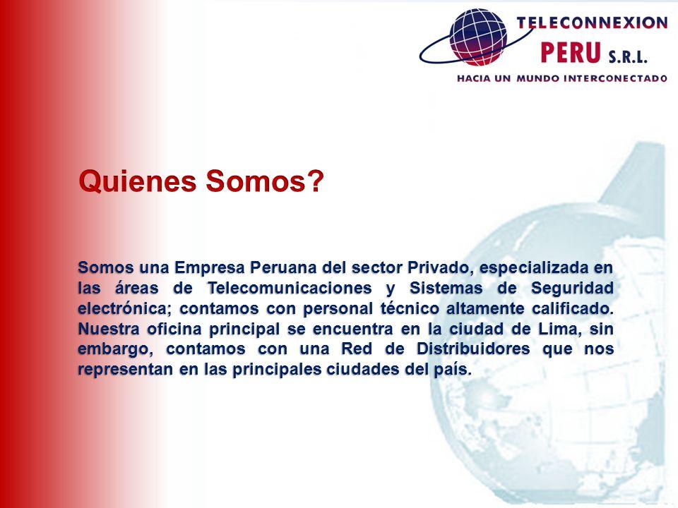 Somos una Empresa Peruana del sector Privado, especializada en las áreas de Telecomunicaciones y Sistemas de Seguridad electrónica; contamos con perso