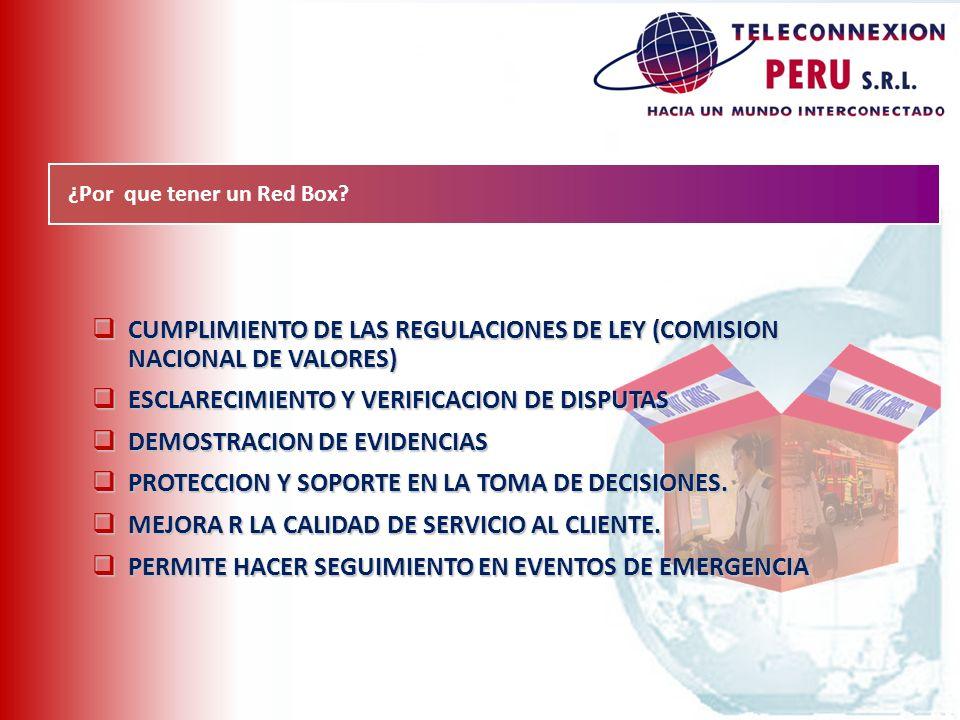 ¿Por que tener un Red Box? CUMPLIMIENTO DE LAS REGULACIONES DE LEY (COMISION NACIONAL DE VALORES) CUMPLIMIENTO DE LAS REGULACIONES DE LEY (COMISION NA
