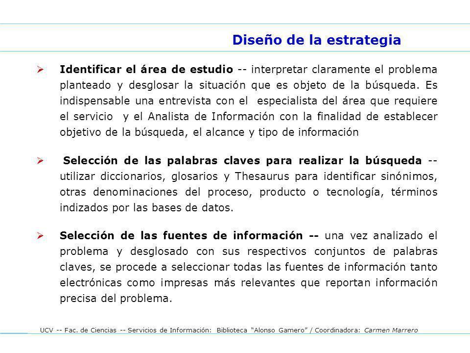 UCV -- Fac. de Ciencias -- Servicios de Información: Biblioteca Alonso Gamero / Coordinadora: Carmen Marrero Identificar el área de estudio -- interpr