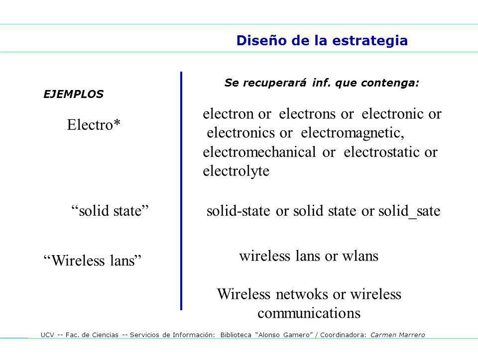UCV -- Fac. de Ciencias -- Servicios de Información: Biblioteca Alonso Gamero / Coordinadora: Carmen Marrero EJEMPLOS Diseño de la estrategia Se recup