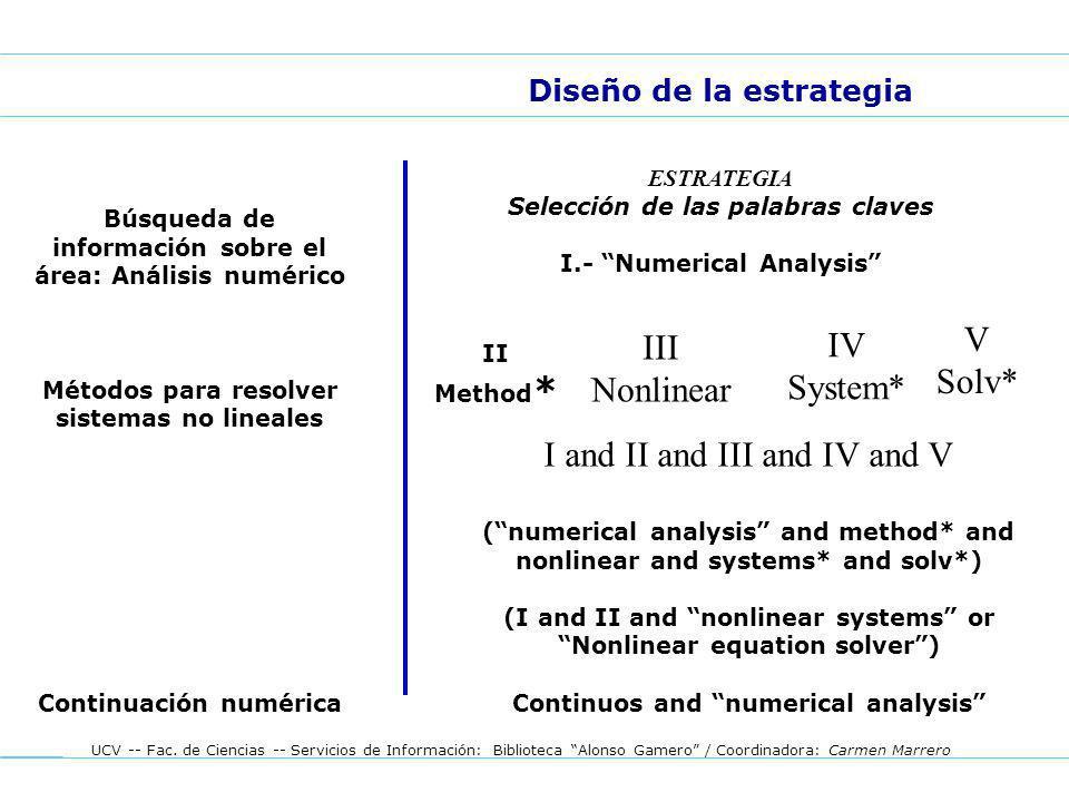 UCV -- Fac. de Ciencias -- Servicios de Información: Biblioteca Alonso Gamero / Coordinadora: Carmen Marrero Diseño de la estrategia ESTRATEGIA Selecc
