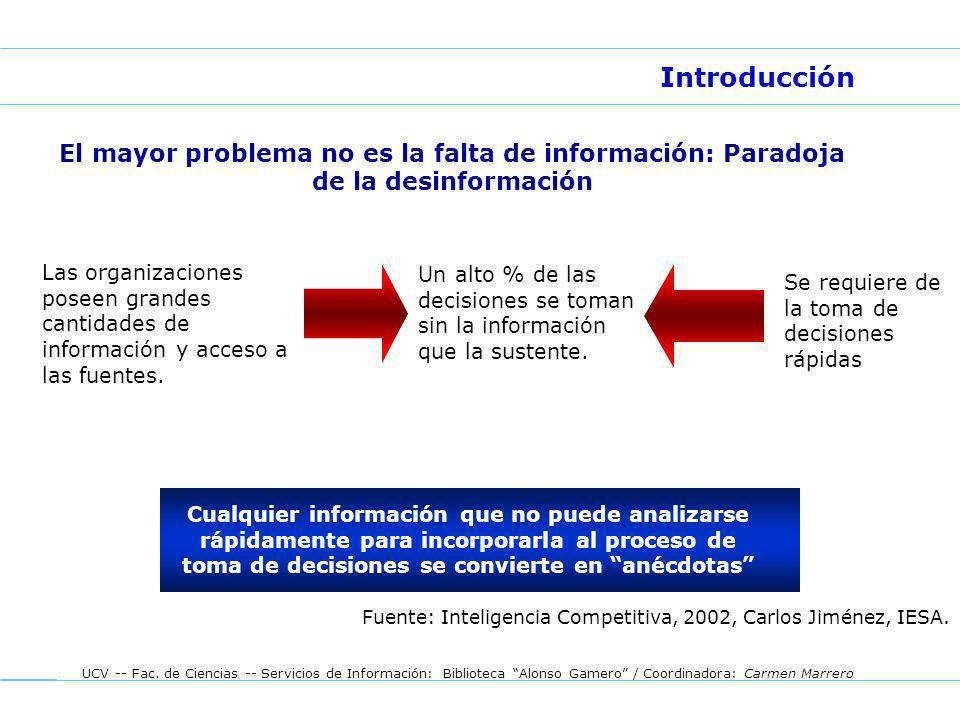UCV -- Fac. de Ciencias -- Servicios de Información: Biblioteca Alonso Gamero / Coordinadora: Carmen Marrero Introducción El mayor problema no es la f
