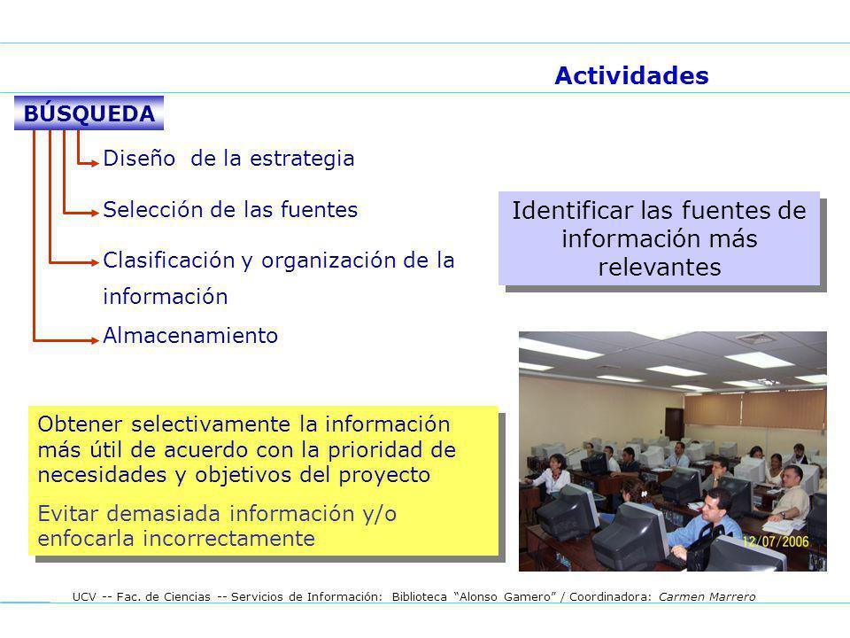 UCV -- Fac. de Ciencias -- Servicios de Información: Biblioteca Alonso Gamero / Coordinadora: Carmen Marrero Diseño de la estrategia Selección de las