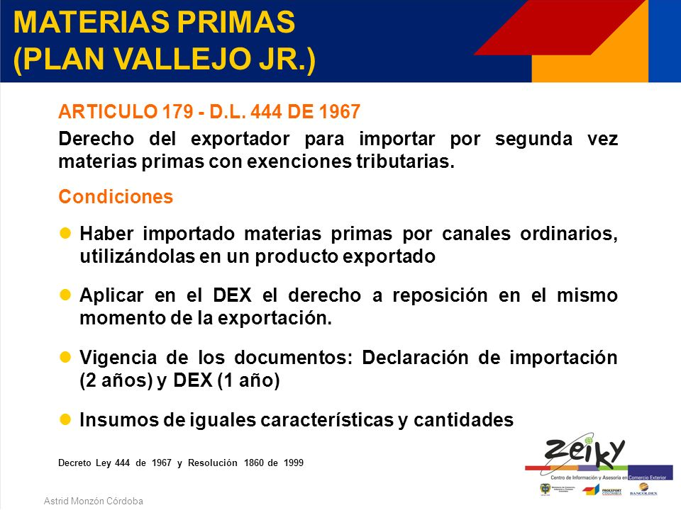 Astrid Monzón Córdoba CRONOGRAMA PROGRAMA DE MATERIAS PRIMAS (meses) Meses 01218 + 1+ 4 Evaluación y aprobación del programa Importación Producción- aprobación CIP Exportación y demostración Verificación Corrección o aclaración Resultado final Actuación definitiva + 4+ 1