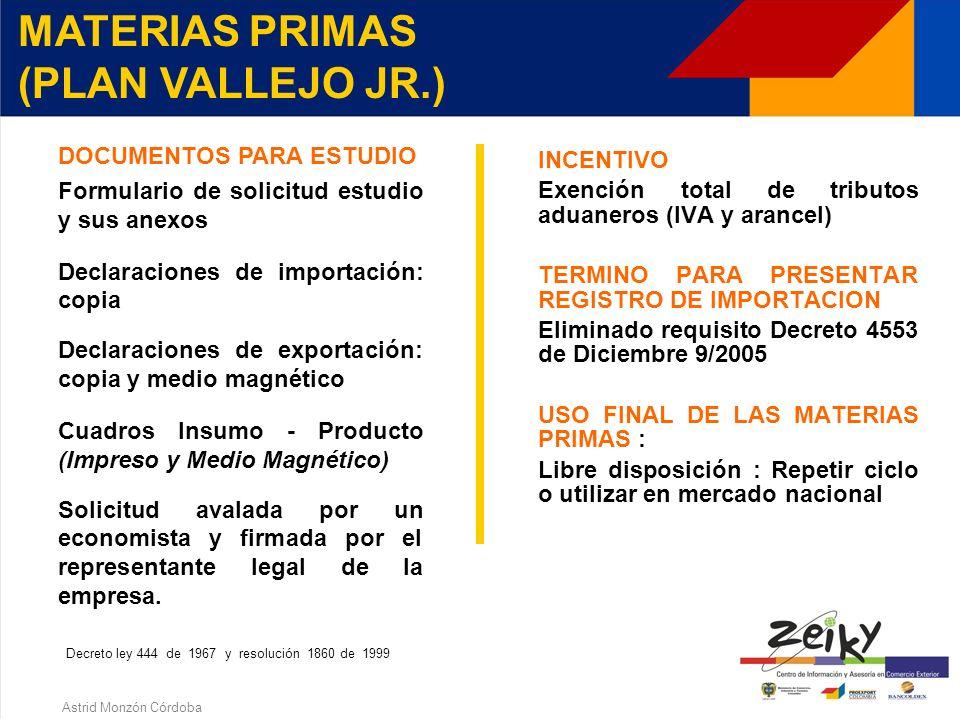 Astrid Monzón Córdoba MATERIAS PRIMAS (PLAN VALLEJO JR.) ARTICULO 179 - D.L. 444 DE 1967 Derecho del exportador para importar por segunda vez materias