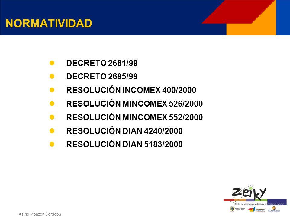Astrid Monzón Córdoba NORMATIVIDAD DECRETO - LEY 444/67 Artículos 172 a 179 DECRETO 631/85 DECRETO 1208/85 RESOLUCIÓN 13/1990 CDCE LEY 37/1990 RESOLUCIÓN 1860/99 DECRETO 2553/99