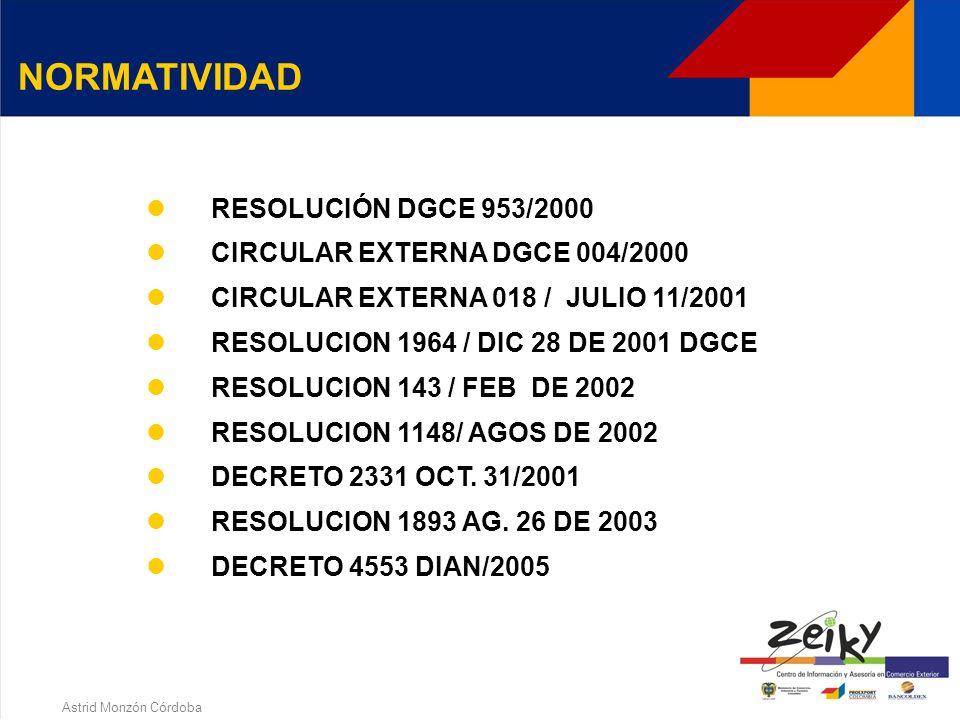 Astrid Monzón Córdoba DECRETO 2681/99 DECRETO 2685/99 RESOLUCIÓN INCOMEX 400/2000 RESOLUCIÓN MINCOMEX 526/2000 RESOLUCIÓN MINCOMEX 552/2000 RESOLUCIÓN DIAN 4240/2000 RESOLUCIÓN DIAN 5183/2000 NORMATIVIDAD