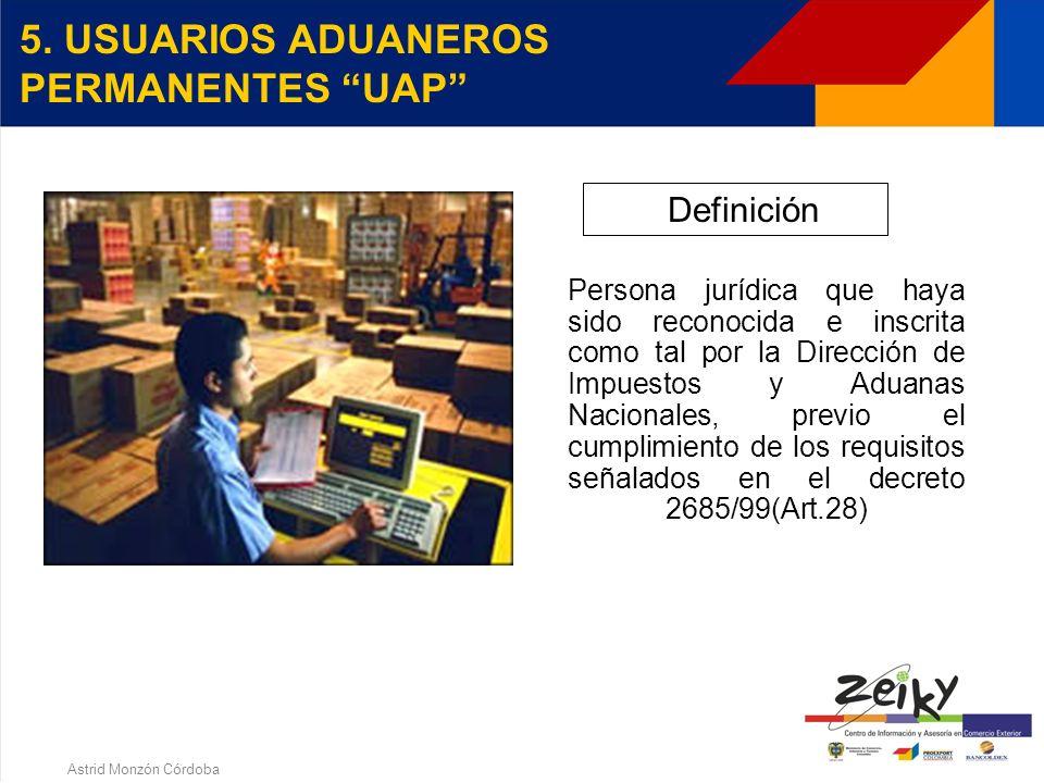 Astrid Monzón Córdoba ALTEX - BENEFICIOS Autorización embarque global para embarques parciales Eliminación de la inspección física aduanera Inspección aduanera de las mercancías a exportar, en las instalaciones del usuario Constitución de la garantía global Posibilidad de constituir garantía global bancaria o de compañía de seguros, con el fin de obtener dentro de los diez (10) días siguientes a la presentación de la solicitud, la devolución de saldos a favor del IVA por concepto de las exportaciones realizadas,