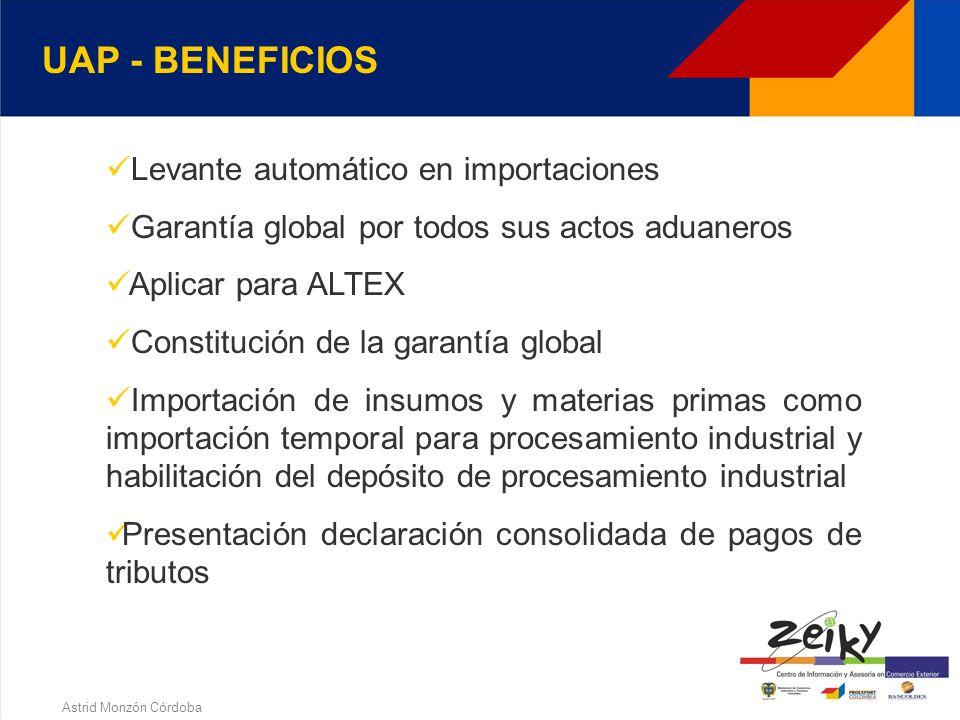 Astrid Monzón Córdoba UAP - REQUISITOS a)Exportaciones por valor FOB >= U$ 3000.000 ó su promedio anual durante los 3 años inmediatamente anteriores a la solicitud b) Tramitado por lo menos 2.000 declaraciones de importación y/o exportación c) Plan Vallejistas por 3 años y exportaciones >= U$2000.000