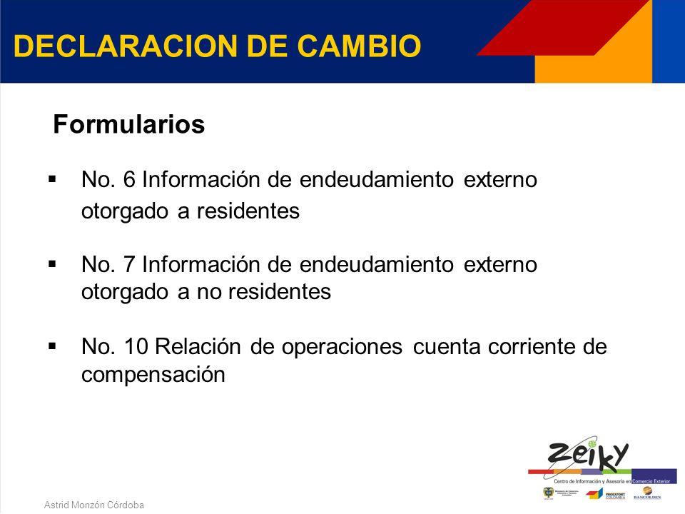 Astrid Monzón Córdoba DECLARACION DE CAMBIO No. 1 Importación de bienes No. 2 Exportación de bienes No. 3 Endeudamiento externo No. 4 Inversiones inte