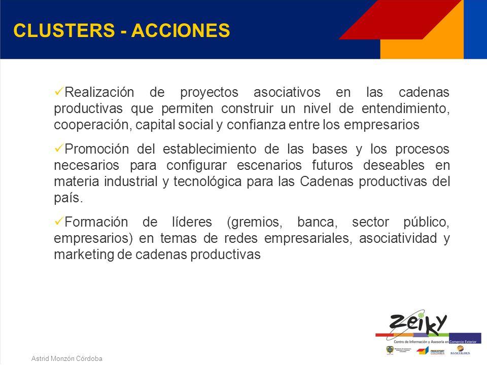 Astrid Monzón Córdoba CLUSTERS - OBJETIVOS El Ministerio de Comercio Exterior Industria y Turismo busca que con este espacio de concertación, las empr