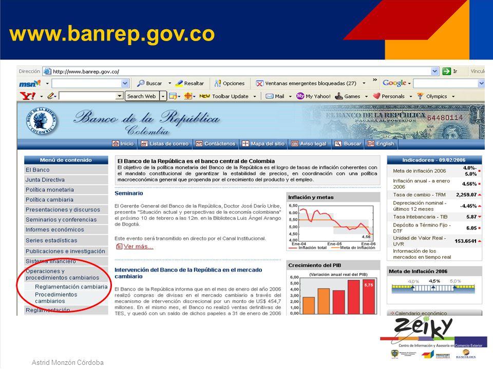Astrid Monzón Córdoba DECLARACION DE CAMBIO No. 6 Información de endeudamiento externo otorgado a residentes No. 7 Información de endeudamiento extern