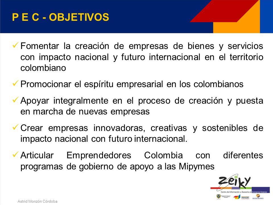 Astrid Monzón Córdoba Es un proyecto de apoyo a la creación de empresas a través de herramientas no financieras y acompañamiento en la consecución de