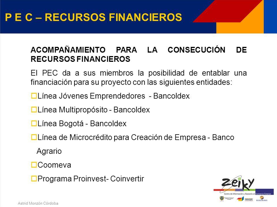 Astrid Monzón Córdoba P E C - REQUISITOS Estar convencido de que quiere crear empresa, no importa su tamaño. Tener acceso a las herramientas WEB Si la