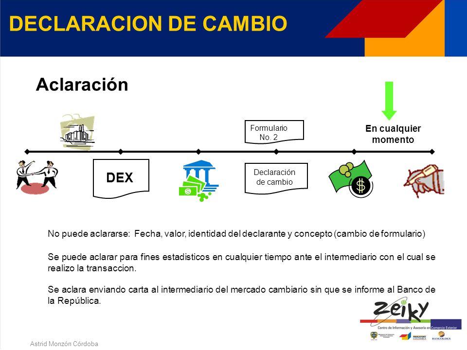 Astrid Monzón Córdoba DECLARACION DE CAMBIO Se puede corregir dentro de los 15 dias hábiles siguientes a la fecha de presentación o de lo contrario se entiende por definitiva.