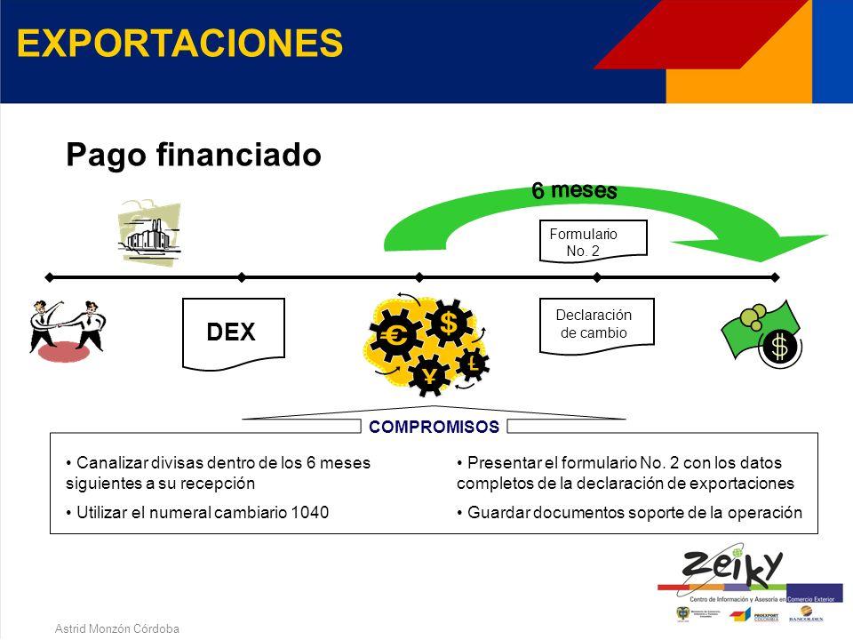 Astrid Monzón Córdoba EXPORTACIONES Anticipo Exportar dentro de los siguientes 4 meses Presentar el formulario No. 2 Utilizar el numeral cambiario 105
