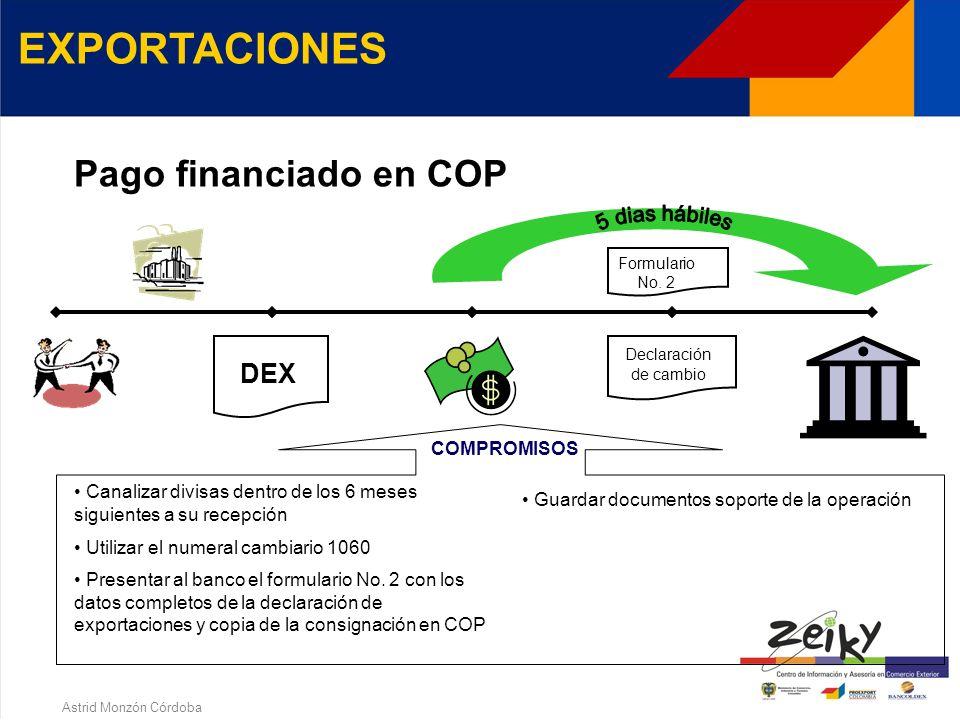 Astrid Monzón Córdoba EXPORTACIONES Pago financiado Presentar el formulario No. 2 con los datos completos de la declaración de exportaciones Utilizar