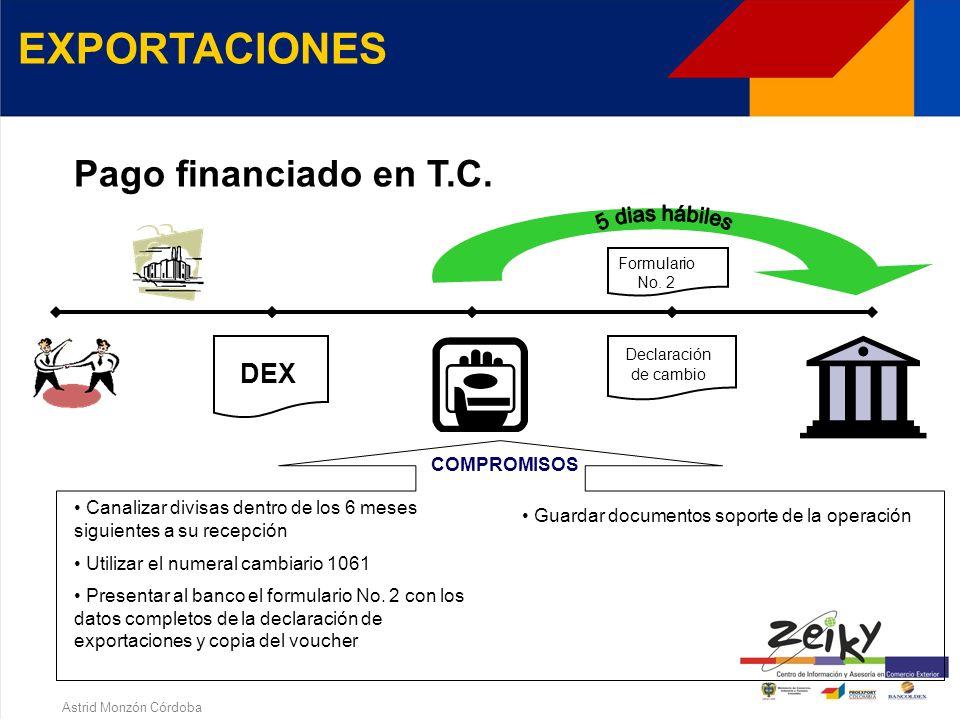 Astrid Monzón Córdoba EXPORTACIONES Pago financiado en COP Presentar al banco el formulario No. 2 con los datos completos de la declaración de exporta