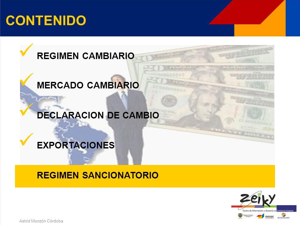 Astrid Monzón Córdoba EXPORTACIONES Endeudamiento externoPago anticipadoPago financiadoExportación > 4 mesesReintegro > 12 meses fecha DEX Valor expor