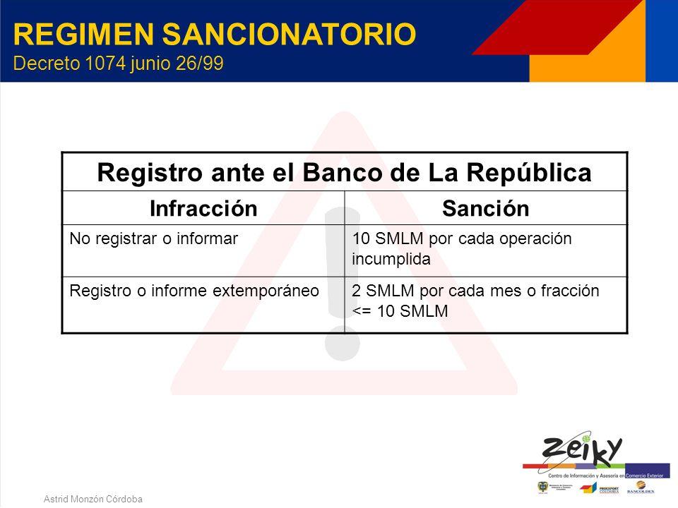 Astrid Monzón Córdoba REGIMEN SANCIONATORIO Decreto 1074 junio 26/99 Operaciones indebidamente canalizadas InfracciónSanción Canalizar como importació