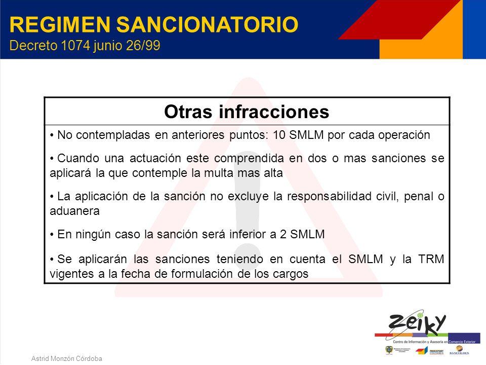 Astrid Monzón Córdoba REGIMEN SANCIONATORIO Decreto 1074 junio 26/99 Registro ante el Banco de La República InfracciónSanción No registrar o informar1