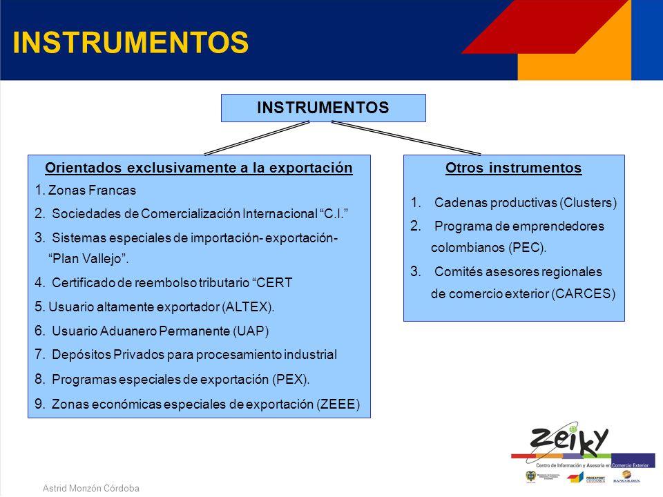 Astrid Monzón Córdoba INSTRUMENTOS DE PROMOCION A LAS EXPORTACIONES