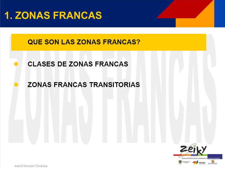 Astrid Monzón Córdoba INSTRUMENTOS Orientados exclusivamente a la exportación 1. Zonas Francas 2. Sociedades de Comercialización Internacional C.I. 3.