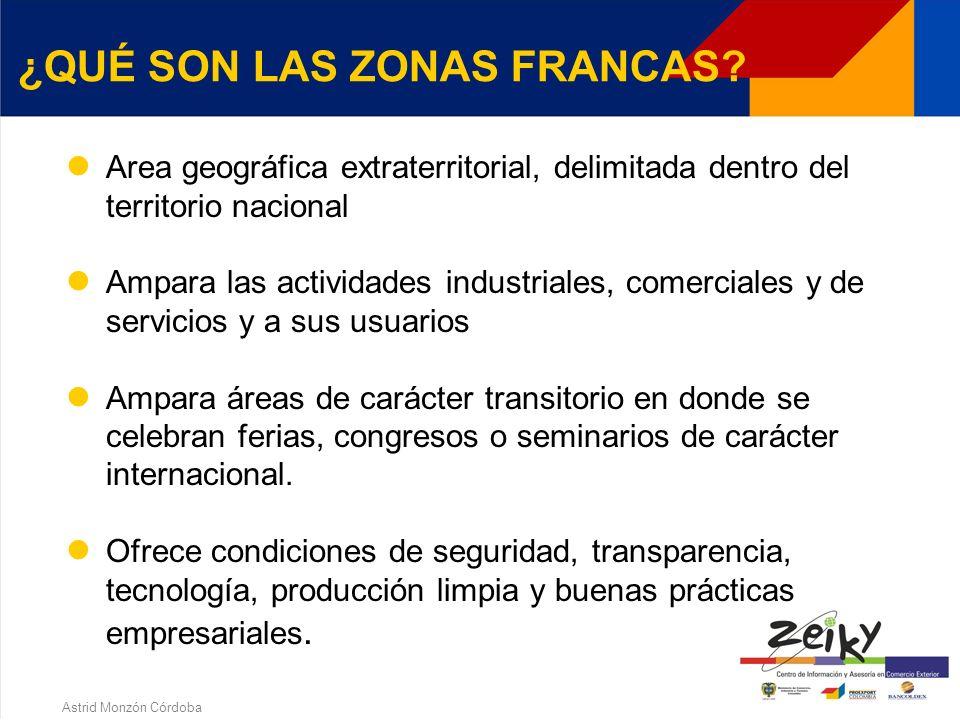 Astrid Monzón Córdoba 1. ZONAS FRANCAS QUE SON LAS ZONAS FRANCAS? CLASES DE ZONAS FRANCAS ZONAS FRANCAS TRANSITORIAS