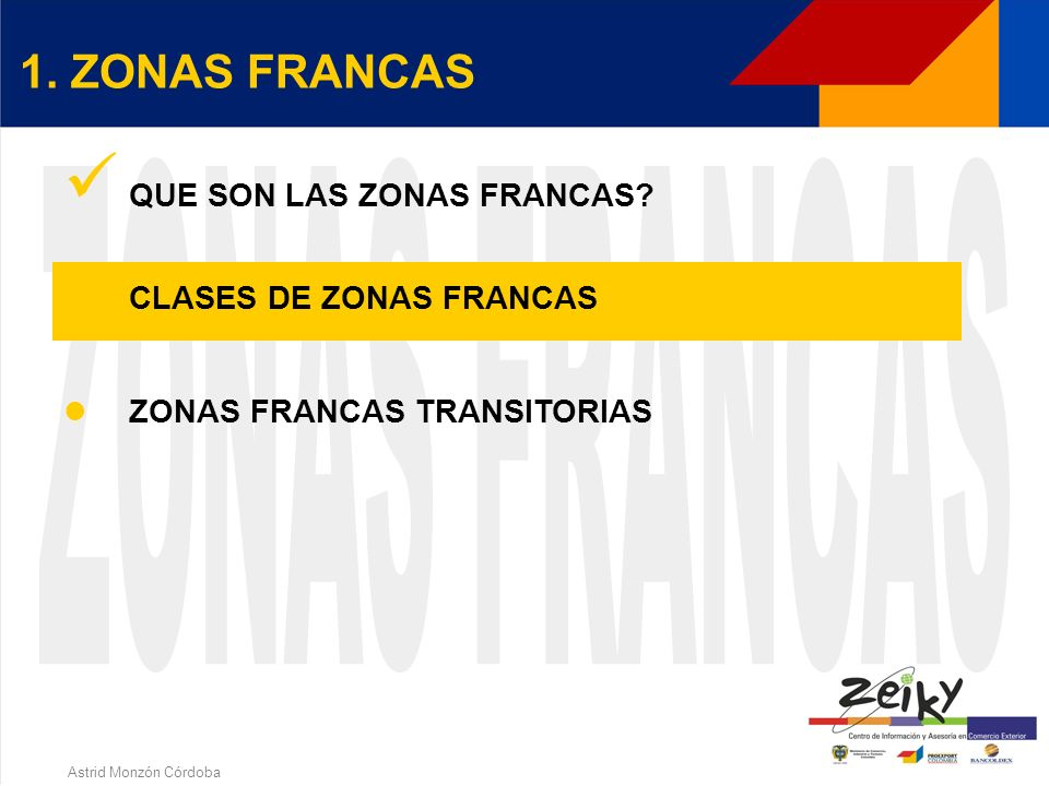 Astrid Monzón Córdoba OPERACIONES Territorio Nacional Zona Franca EXP. IMP. (Trámites según legislación aduanera) RESTO DEL MUNDO SALIDA INTRODUCCION