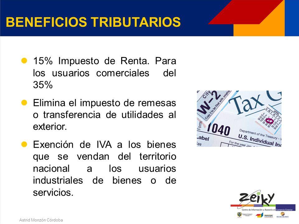 Astrid Monzón Córdoba Beneficios Tributarios Comercio exterior Aduaneros Cambiarios Crediticios y financieros Otros Restricciones BENEFICIOS Y RESTRICCIONES