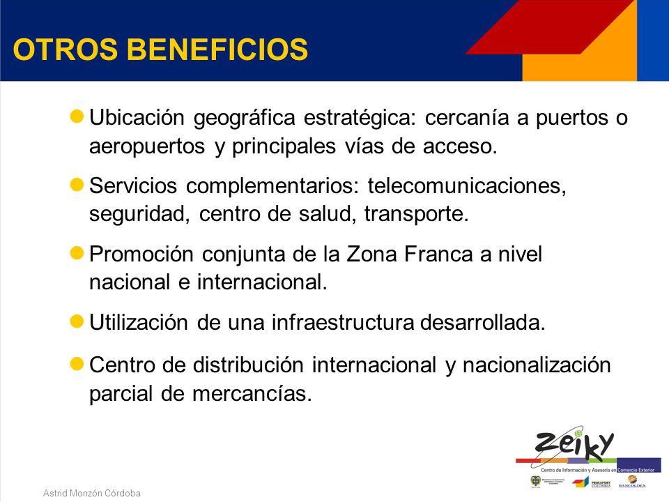 Astrid Monzón Córdoba Las instituciones financieras, excepto los almacenes generales de depósito podrán vincularse a las Zonas Francas como sucursal o agencia de una institución financiera sin régimen franco.