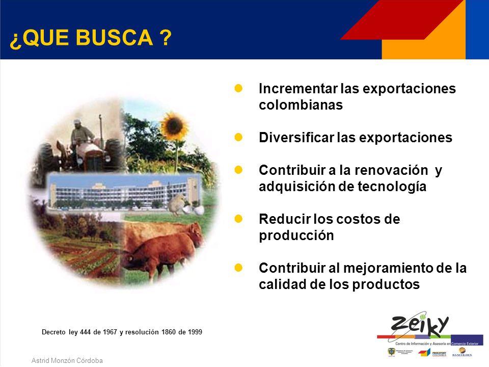 Astrid Monzón Córdoba ¿QUE ES PLAN VALLEJO ? Importa temporalmente al territorio aduanero Colombiano, materias primas e insumos. Que se empleen en la