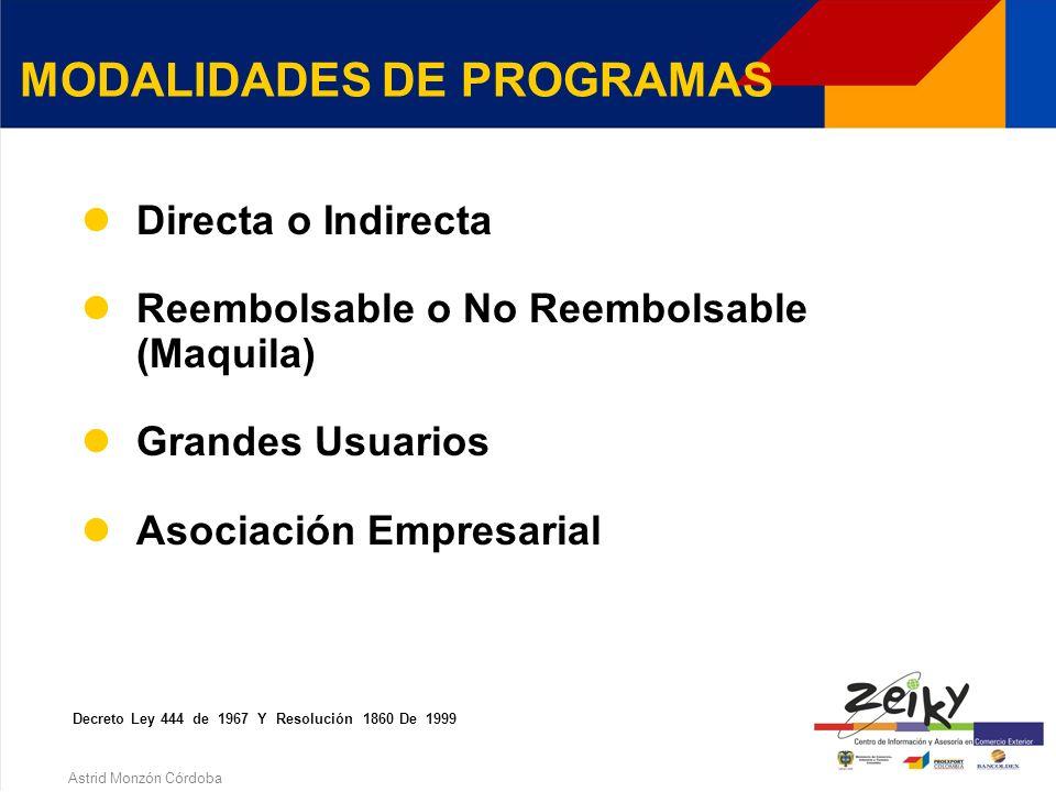 Astrid Monzón Córdoba CLASES DE PROGRAMAS Materias primas e insumos Decreto ley 444 de 1967 y resolución 1860 de 1999