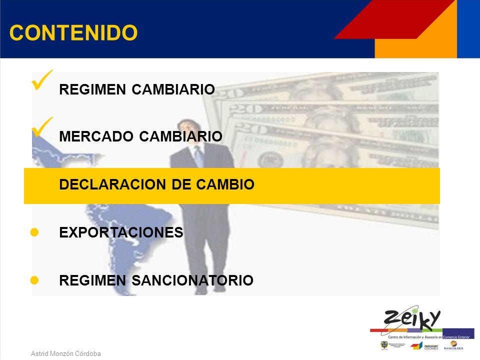 Astrid Monzón Córdoba MERCADO CAMBIARIO OPERACIONES Importaciones y exportaciones de bienes Operaciones de endeudamiento externo y costos financieros Inversiones de capital del exterior en el país y rendimientos Inversiones de capital colombiano en el exterior y rendimientos Inversiones financieras en títulos emitidos y activos radicados en el exterior Avales y garantías en moneda extranjera Operaciones de derivados