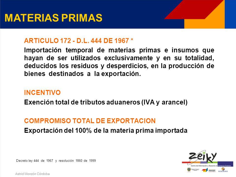 Astrid Monzón Córdoba ¿QUE SON MATERIAS PRIMAS E INSUMOS? Elementos utilizados en el proceso de producción de cuya mezcla, combinación, procesamiento