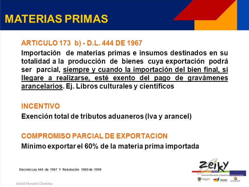 Astrid Monzón Córdoba ARTICULO 172 - D.L. 444 DE 1967 * Importación temporal de materias primas e insumos que hayan de ser utilizados exclusivamente y