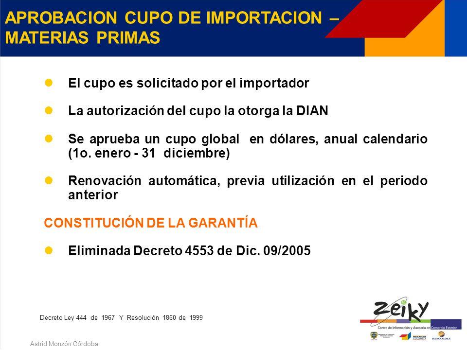 Astrid Monzón Córdoba ARTICULO 173 b) - D.L. 444 DE 1967 Importación de materias primas e insumos destinados en su totalidad a la producción de bienes