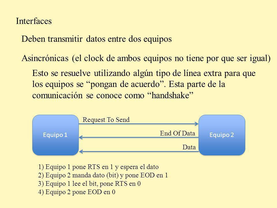 Interfaces Podemos clasificarlas en dos grandes grupos Serie: Transmiten los bits por el mismo cable, uno a continuación del otro (en serie) Paralelo: Transmiten los bits por por diferentes cables, todos a la vez (en paralelo)