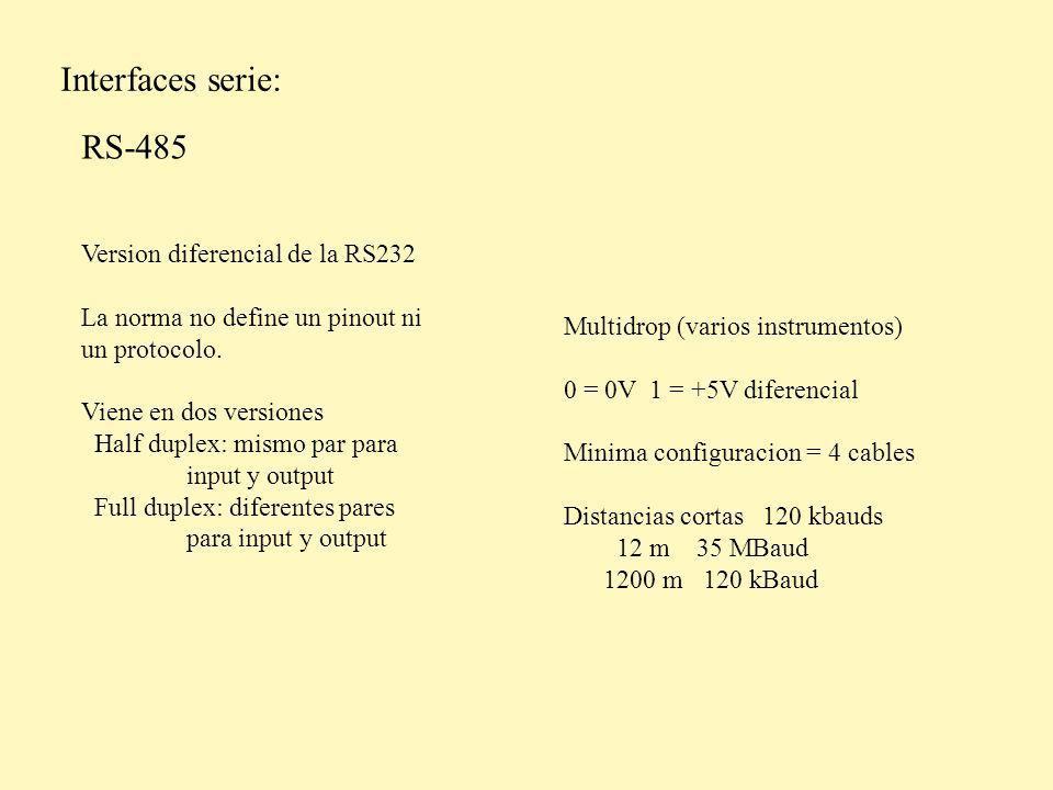 Interfaces serie: USB, USB 2.0 y USB 3.0 Multidrop (la PC tiene un bus) Hasta 127 instrumentos Se puede extraer potencia (100mA) USB 12 Mbaud USB 2.0 480 Mbaud USB 3.0 35 Gbaud USB y USB 2.0 USB 3.0