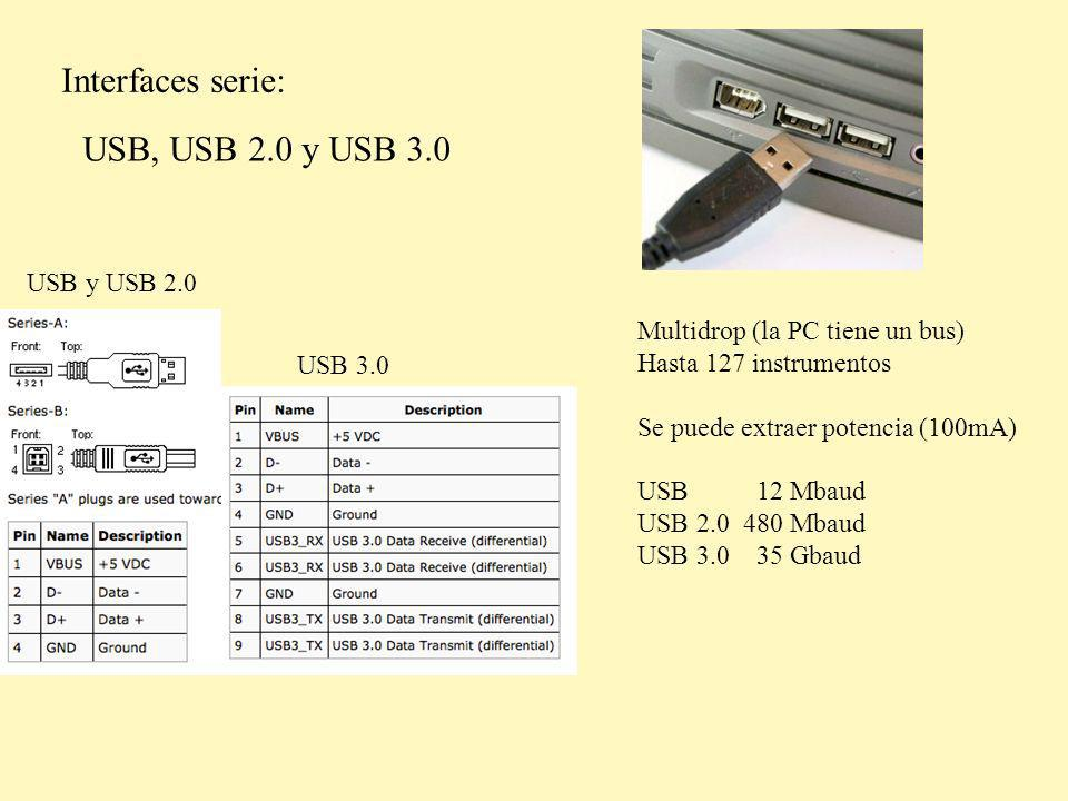 Interfaces serie: USB, USB 2.0 y USB 3.0 Multidrop (la PC tiene un bus) Hasta 127 instrumentos Se puede extraer potencia (100mA) USB 12 Mbaud USB 2.0