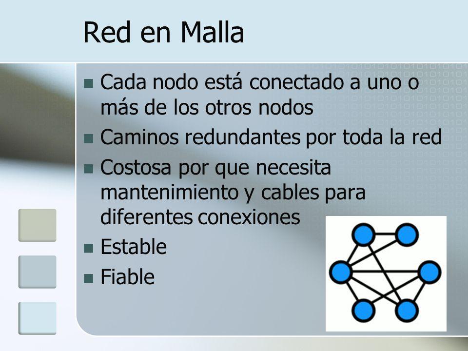 Red en Malla Cada nodo está conectado a uno o más de los otros nodos Caminos redundantes por toda la red Costosa por que necesita mantenimiento y cables para diferentes conexiones Estable Fiable