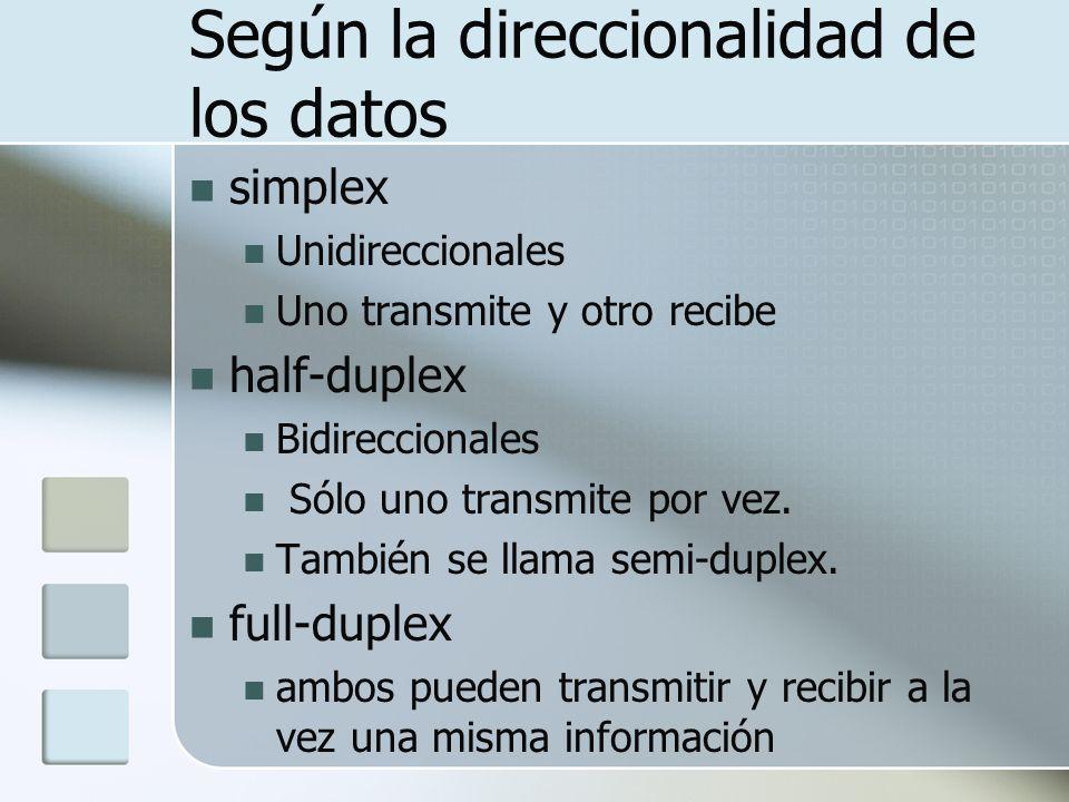 Según la direccionalidad de los datos simplex Unidireccionales Uno transmite y otro recibe half-duplex Bidireccionales Sólo uno transmite por vez.