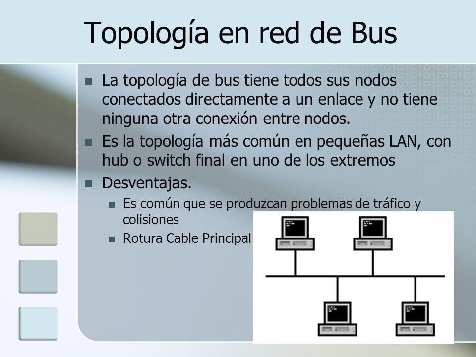 Topología en red de Bus La topología de bus tiene todos sus nodos conectados directamente a un enlace y no tiene ninguna otra conexión entre nodos. Es