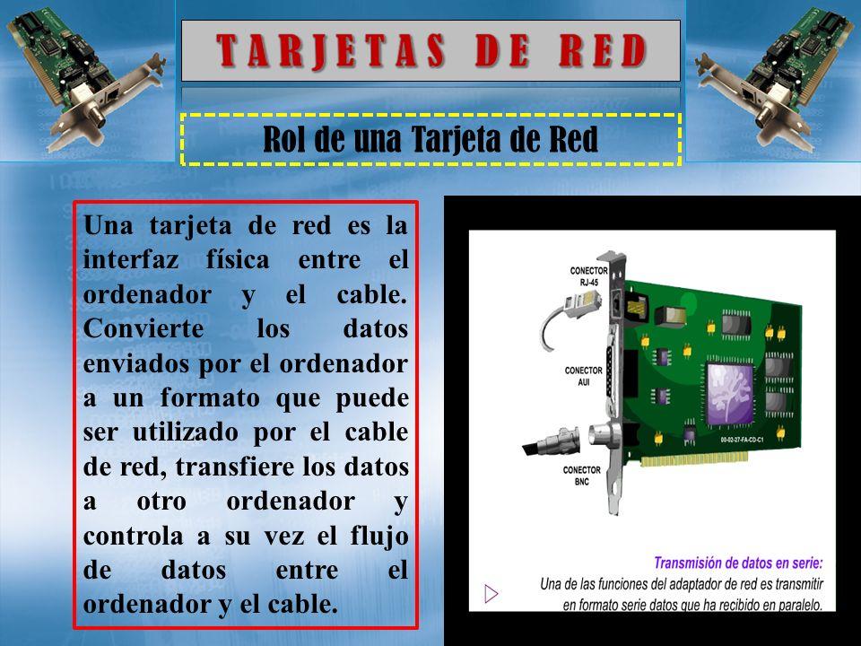 Rol de una Tarjeta de Red Una tarjeta de red es la interfaz física entre el ordenador y el cable. Convierte los datos enviados por el ordenador a un f