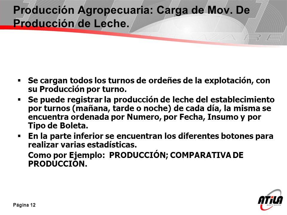 Se cargan todos los turnos de ordeñes de la explotación, con su Producción por turno. Se puede registrar la producción de leche del establecimiento po