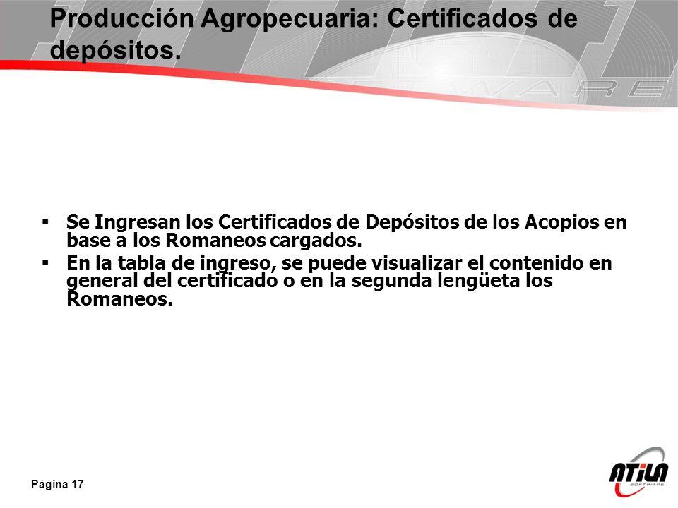 Se Ingresan los Certificados de Depósitos de los Acopios en base a los Romaneos cargados. En la tabla de ingreso, se puede visualizar el contenido en