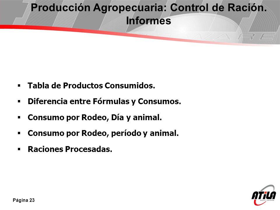 Tabla de Productos Consumidos. Diferencia entre Fórmulas y Consumos. Consumo por Rodeo, Día y animal. Consumo por Rodeo, período y animal. Raciones Pr