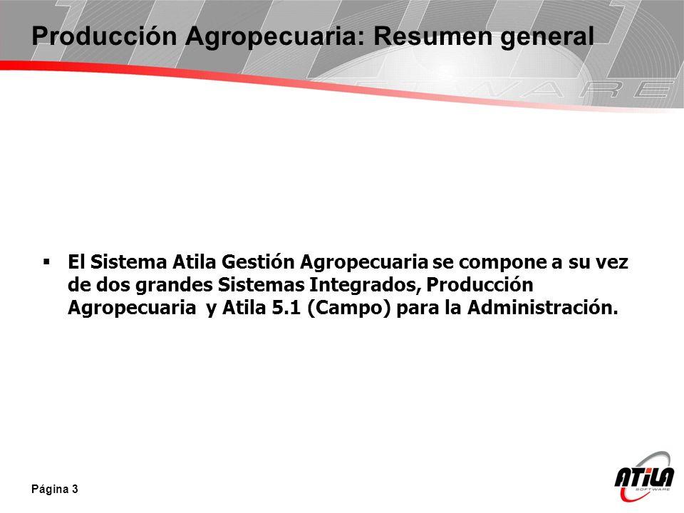Producción Agropecuaria: Resumen general El Sistema Atila Gestión Agropecuaria se compone a su vez de dos grandes Sistemas Integrados, Producción Agro