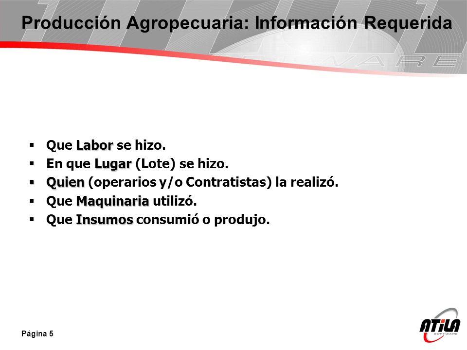 Página 5 Producción Agropecuaria: Información Requerida Labor Que Labor se hizo. Lugar En que Lugar (Lote) se hizo. Quien Quien (operarios y/o Contrat